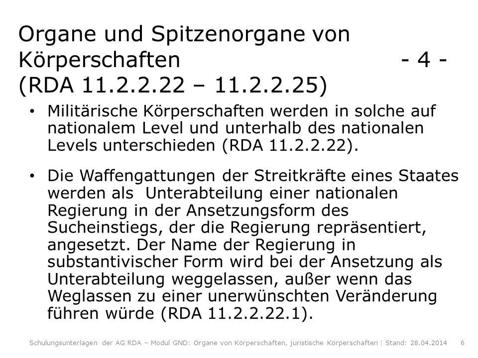 Organe und Spitzenorgane von Körperschaften. - 4 - (RDA 11. 2. 2