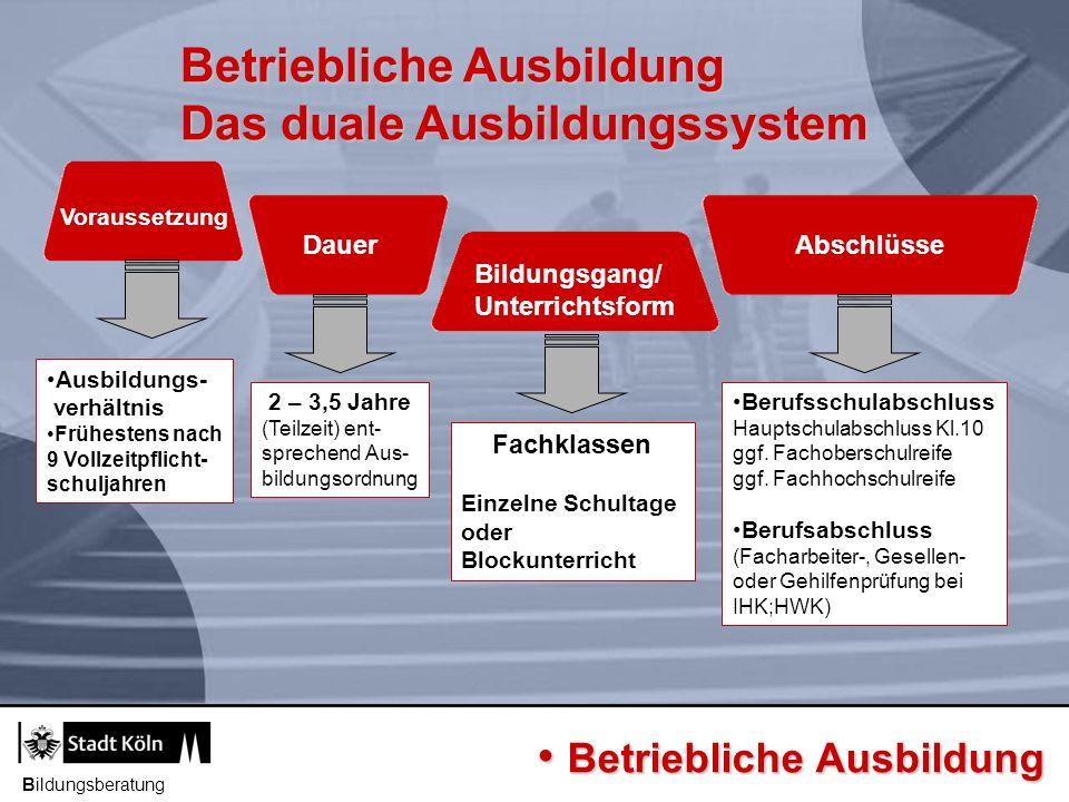 Betriebliche Ausbildung Das duale Ausbildungssystem