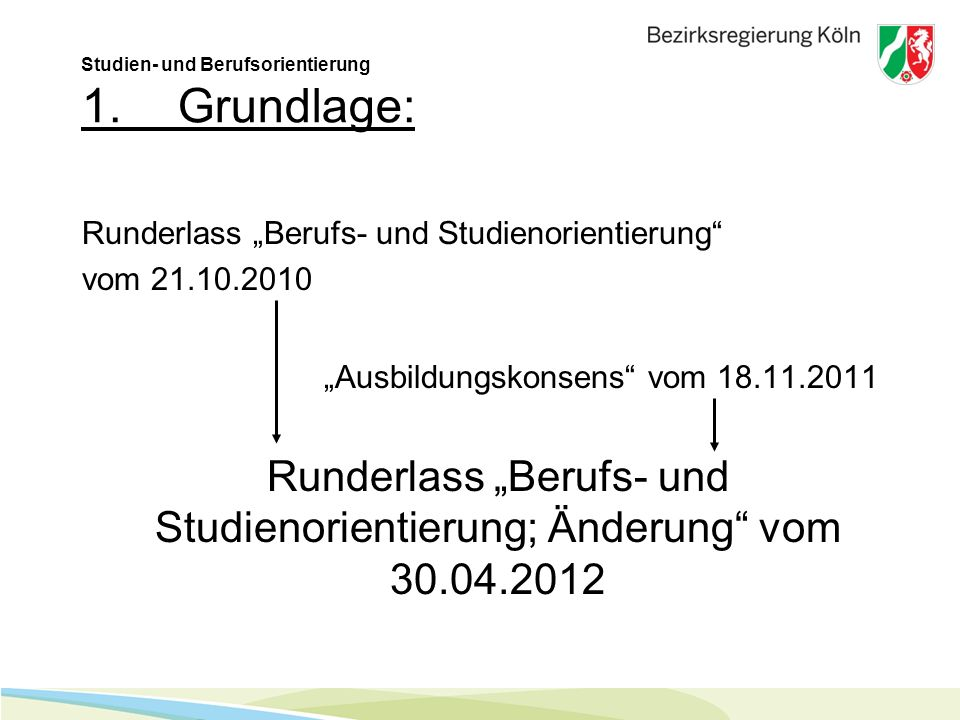 Studien- und Berufsorientierung 1. Grundlage:
