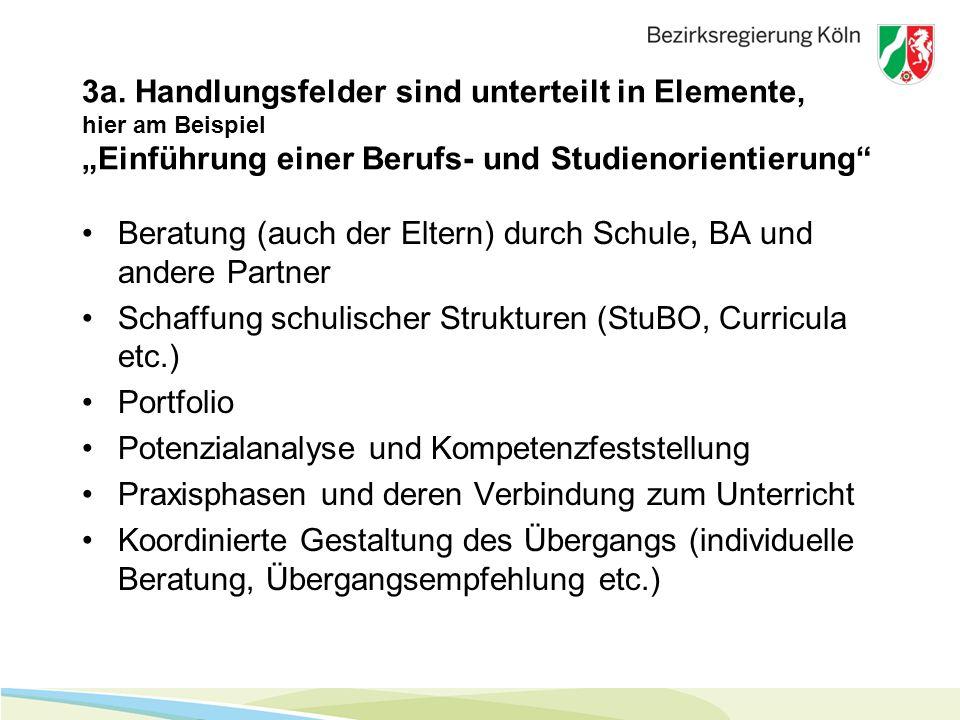 """3a. Handlungsfelder sind unterteilt in Elemente, hier am Beispiel """"Einführung einer Berufs- und Studienorientierung"""