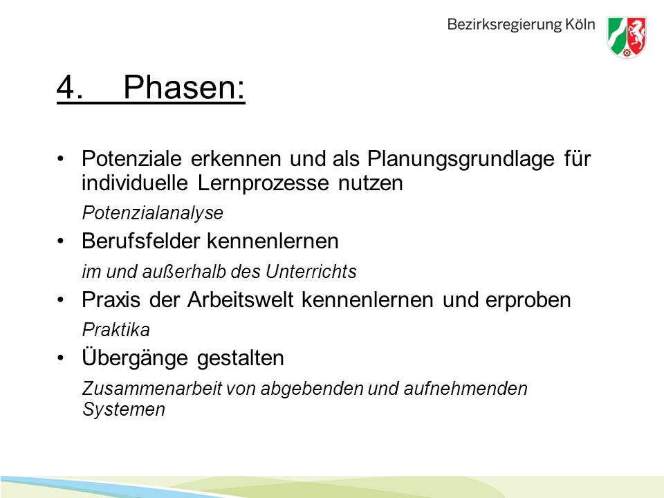 4. Phasen: Potenziale erkennen und als Planungsgrundlage für individuelle Lernprozesse nutzen. Potenzialanalyse.