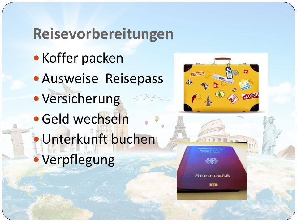 Reisevorbereitungen Koffer packen Ausweise Reisepass Versicherung