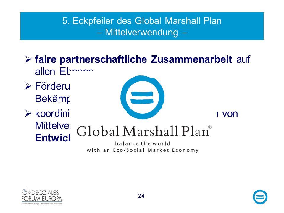 5. Eckpfeiler des Global Marshall Plan – Mittelverwendung –
