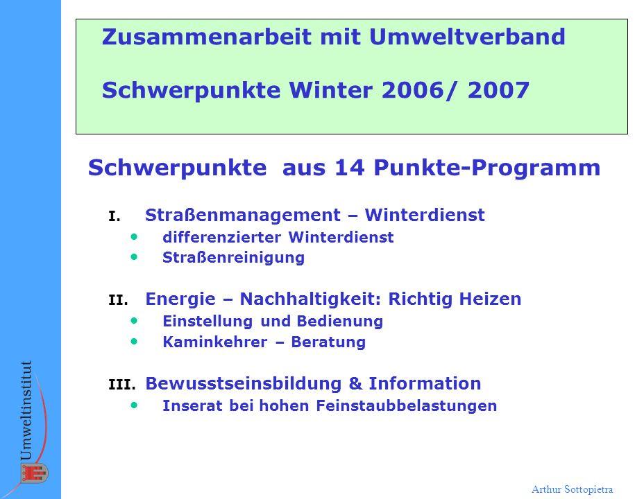 Zusammenarbeit mit Umweltverband Schwerpunkte Winter 2006/ 2007