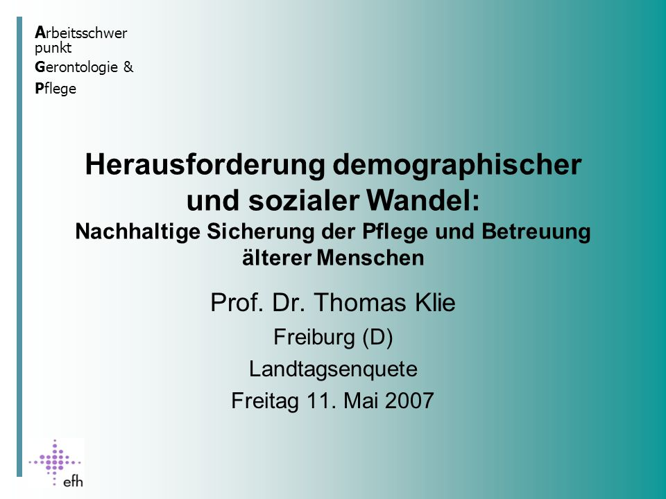 Herausforderung demographischer und sozialer Wandel: Nachhaltige Sicherung der Pflege und Betreuung älterer Menschen