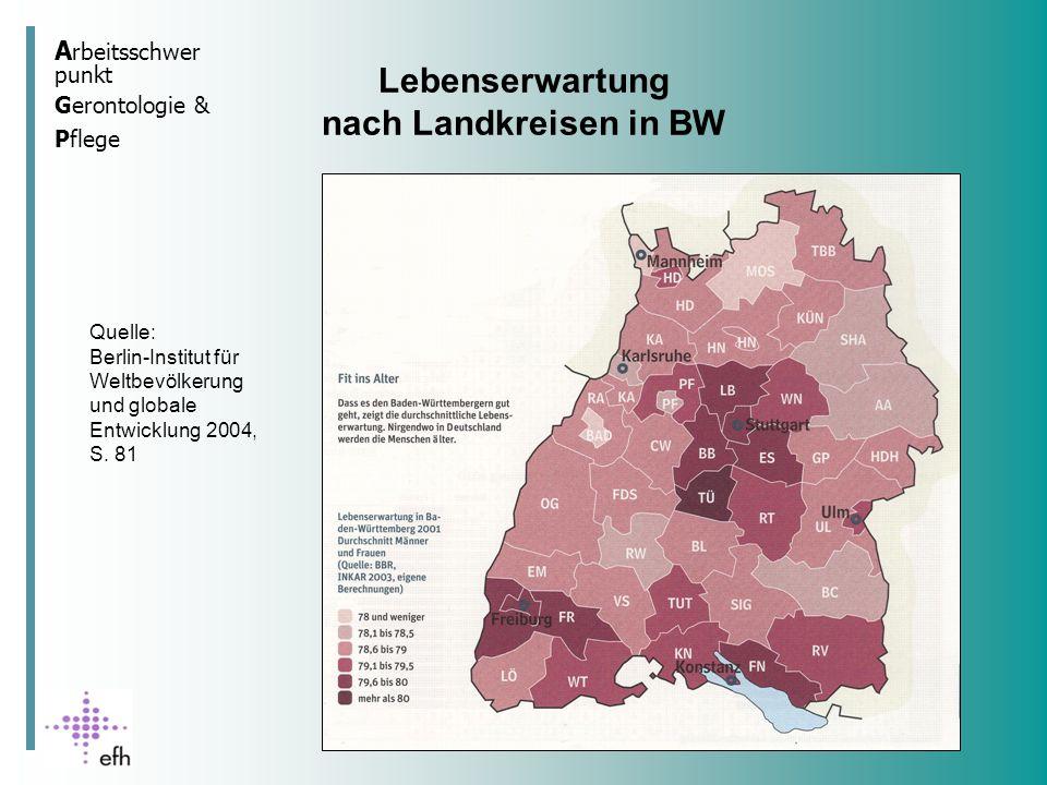 Lebenserwartung nach Landkreisen in BW