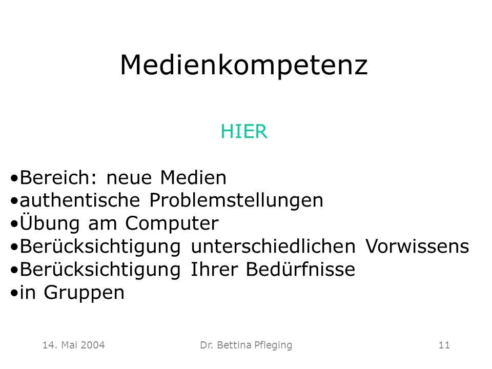 Medienkompetenz HIER Bereich: neue Medien