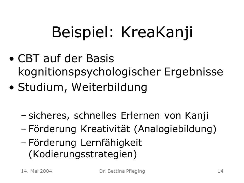 Beispiel: KreaKanji CBT auf der Basis kognitionspsychologischer Ergebnisse. Studium, Weiterbildung.