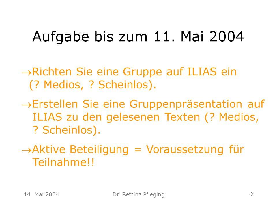 Aufgabe bis zum 11. Mai 2004 Richten Sie eine Gruppe auf ILIAS ein ( Medios, Scheinlos).