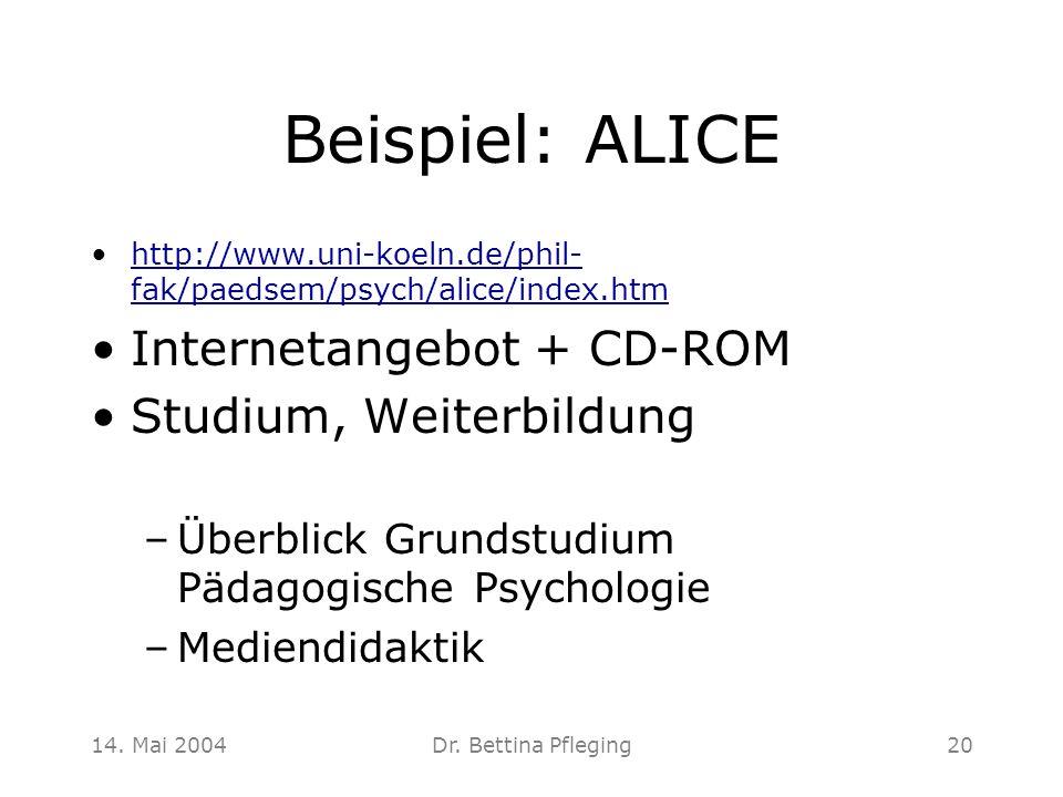 Beispiel: ALICE Internetangebot + CD-ROM Studium, Weiterbildung