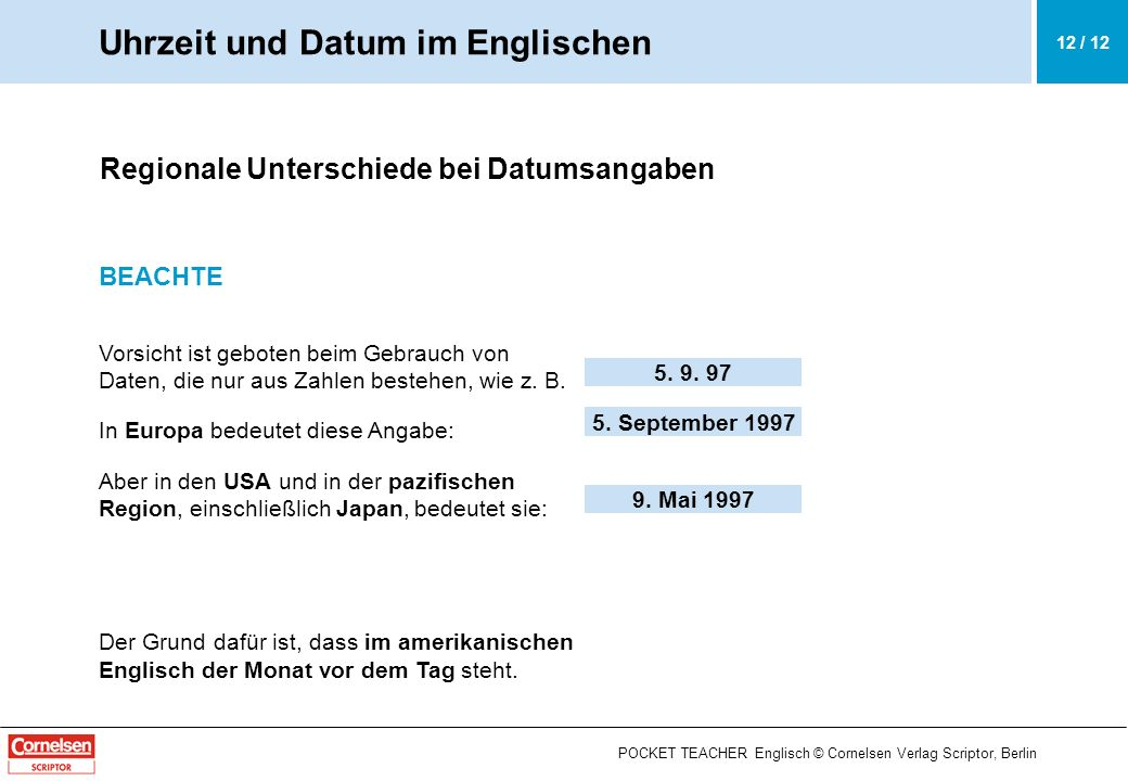 Uhrzeit und Datum im Englischen