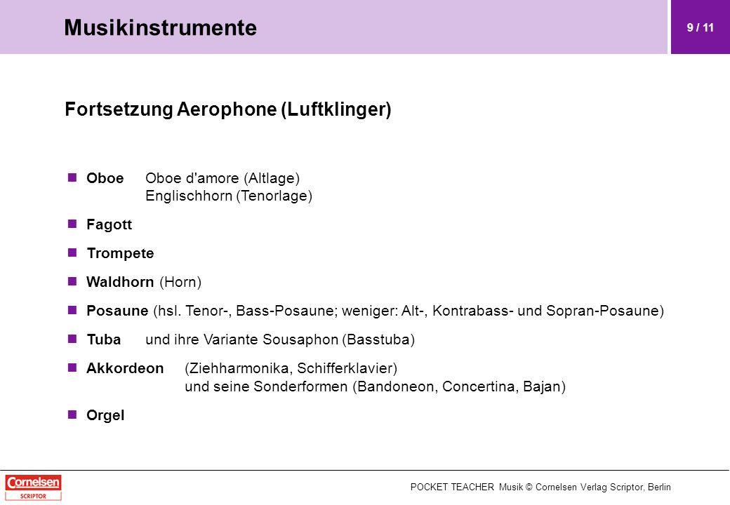 Musikinstrumente Fortsetzung Aerophone (Luftklinger)
