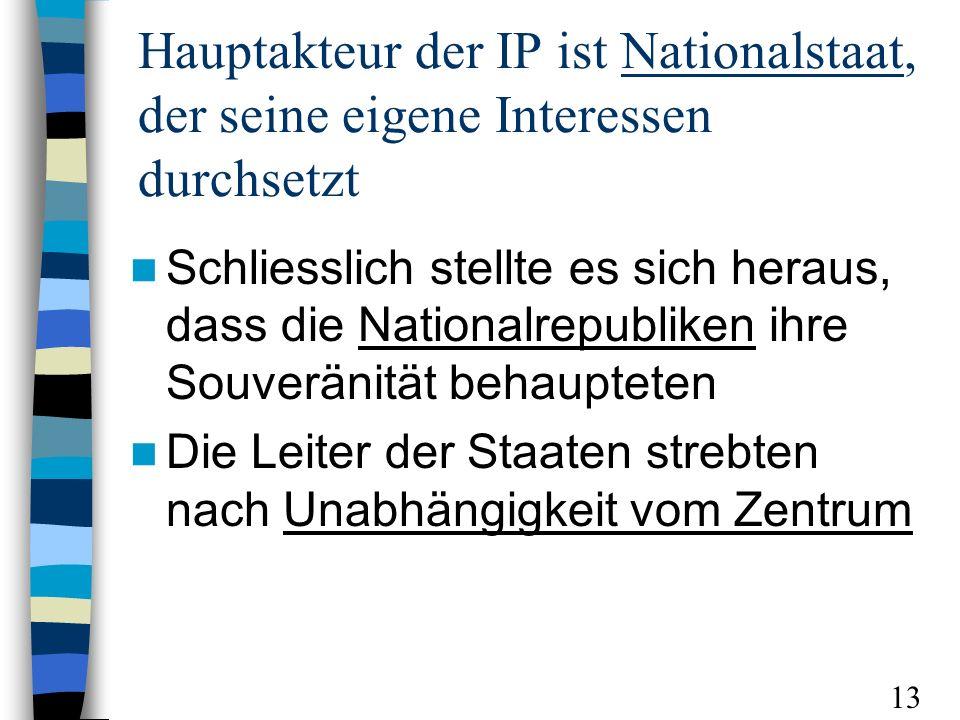 Hauptakteur der IP ist Nationalstaat, der seine eigene Interessen durchsetzt