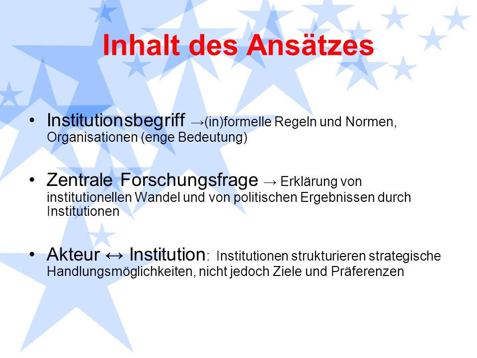 Inhalt des Ansätzes Institutionsbegriff →(in)formelle Regeln und Normen, Organisationen (enge Bedeutung)
