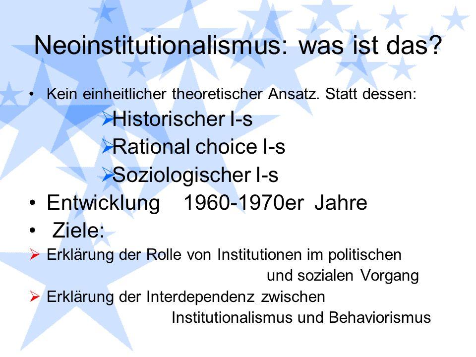 Neoinstitutionalismus: was ist das