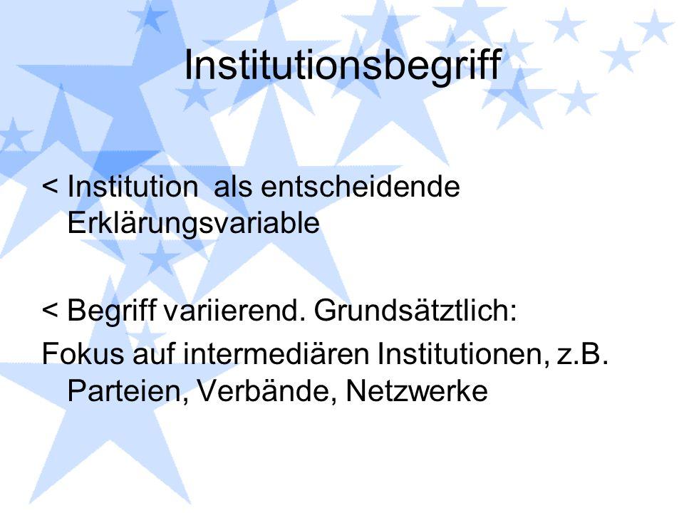 Institutionsbegriff Institution als entscheidende Erklärungsvariable