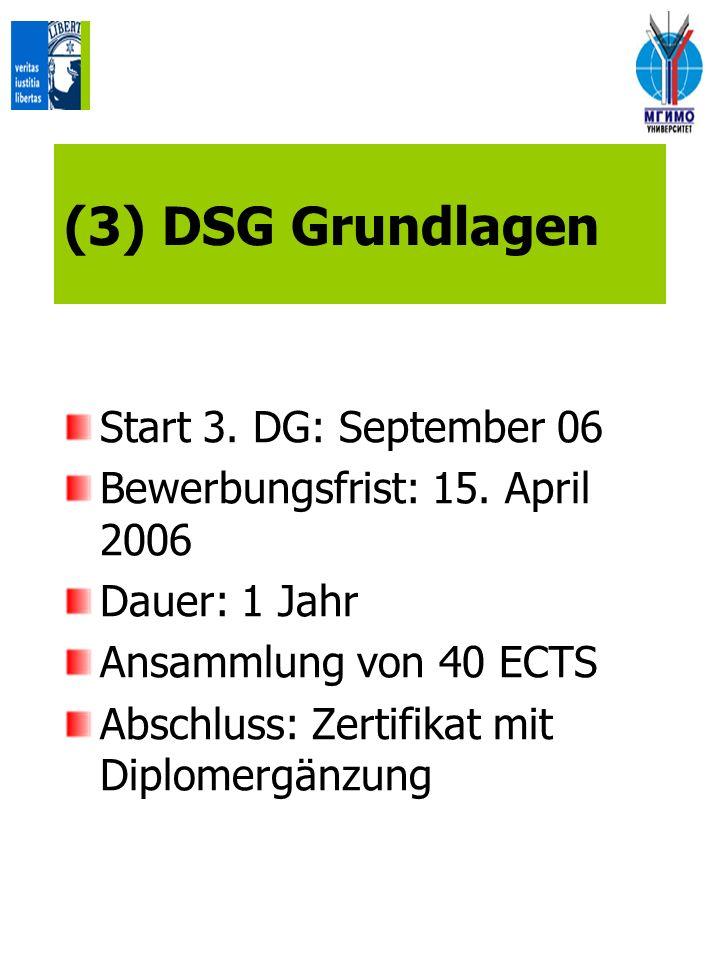 (3) DSG Grundlagen Start 3. DG: September 06