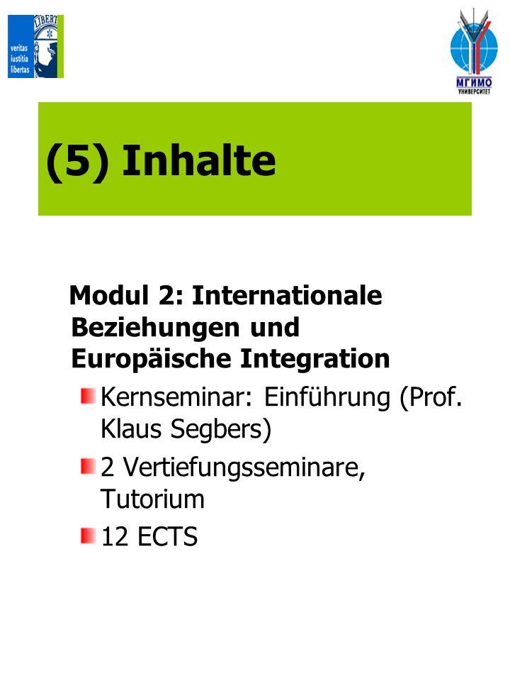 (5) Inhalte Modul 2: Internationale Beziehungen und Europäische Integration. Kernseminar: Einführung (Prof. Klaus Segbers)