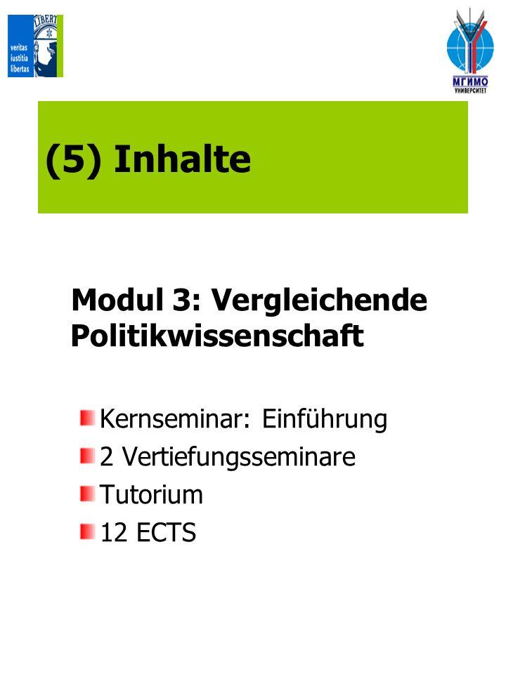 (5) Inhalte Modul 3: Vergleichende Politikwissenschaft