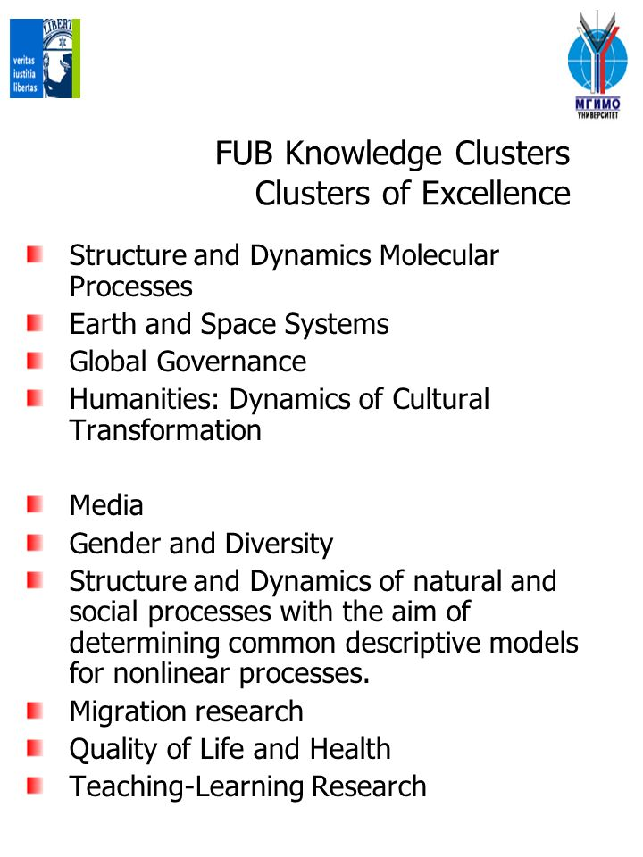 FUB Knowledge Clusters Clusters of Excellence