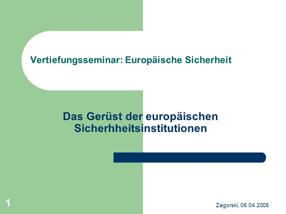 Vertiefungsseminar: Europäische Sicherheit