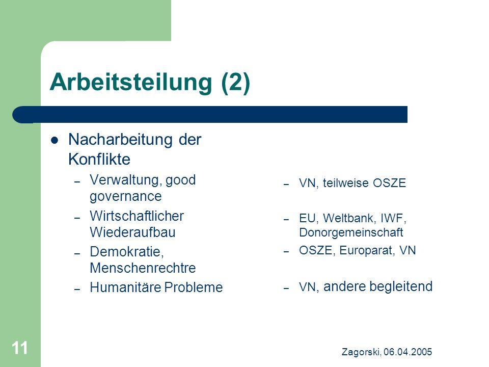 Arbeitsteilung (2) Nacharbeitung der Konflikte