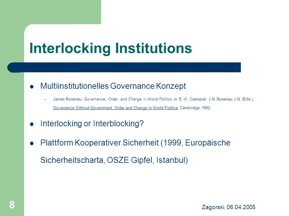 Interlocking Institutions