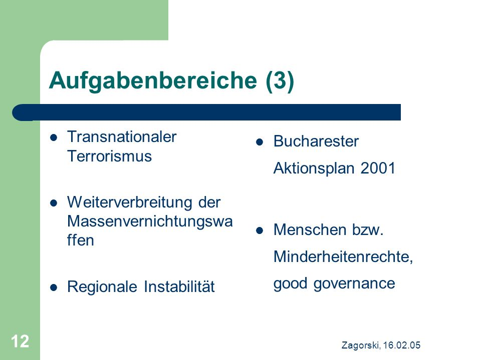 Aufgabenbereiche (3) Transnationaler Terrorismus