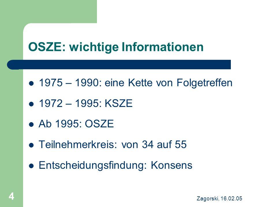 OSZE: wichtige Informationen