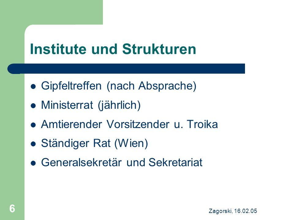 Institute und Strukturen