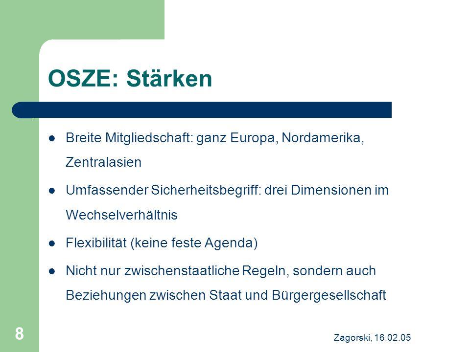 OSZE: Stärken Breite Mitgliedschaft: ganz Europa, Nordamerika, Zentralasien. Umfassender Sicherheitsbegriff: drei Dimensionen im Wechselverhältnis.