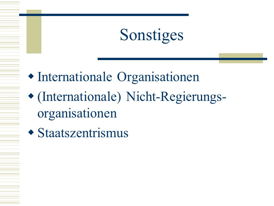 Sonstiges Internationale Organisationen
