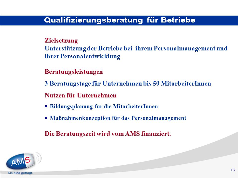 Qualifizierungsberatung für Betriebe