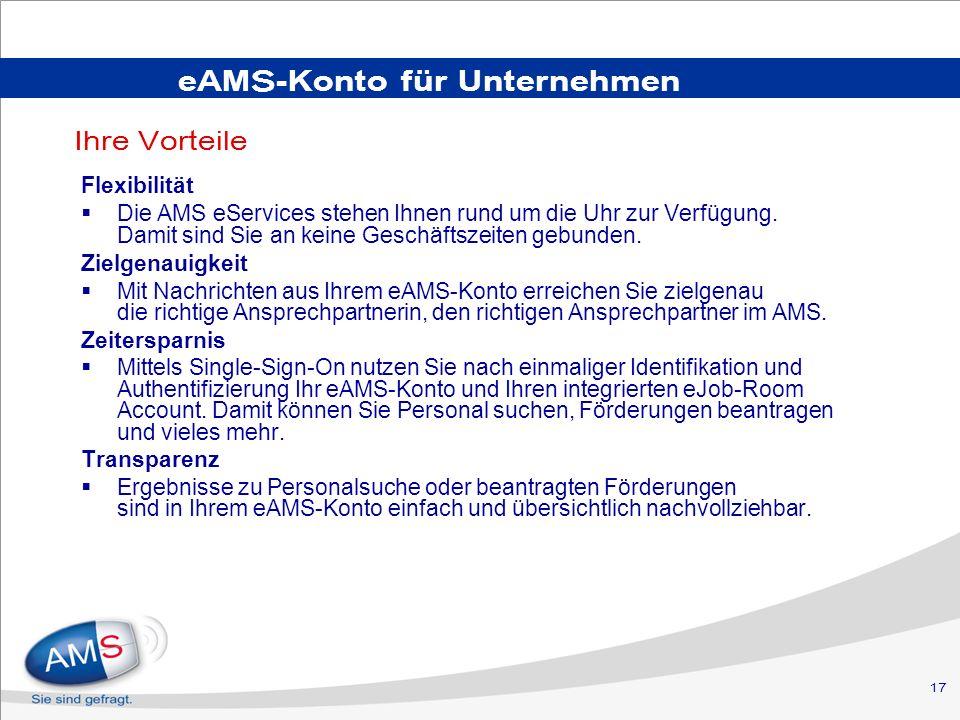 eAMS-Konto für Unternehmen