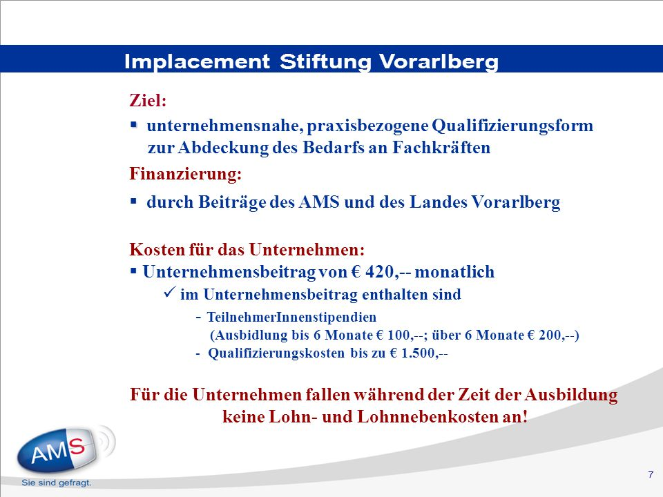 Implacement Stiftung Vorarlberg