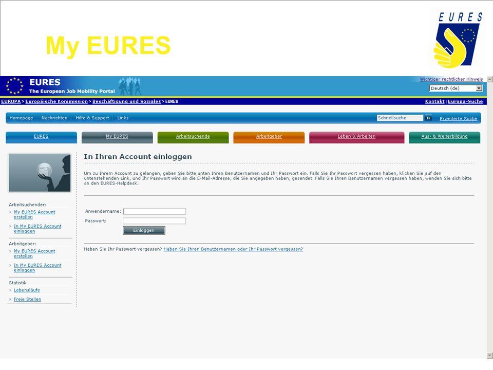 My EURES 604970 Arbeitsuchende und 23356 Organisationen)