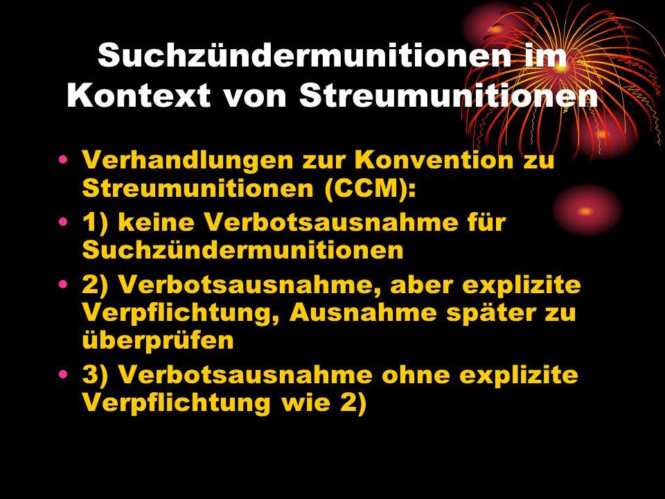Suchzündermunitionen im Kontext von Streumunitionen