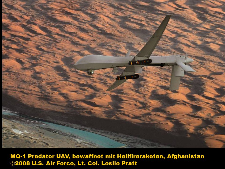 MQ-1 Predator UAV, bewaffnet mit Hellfireraketen, Afghanistan