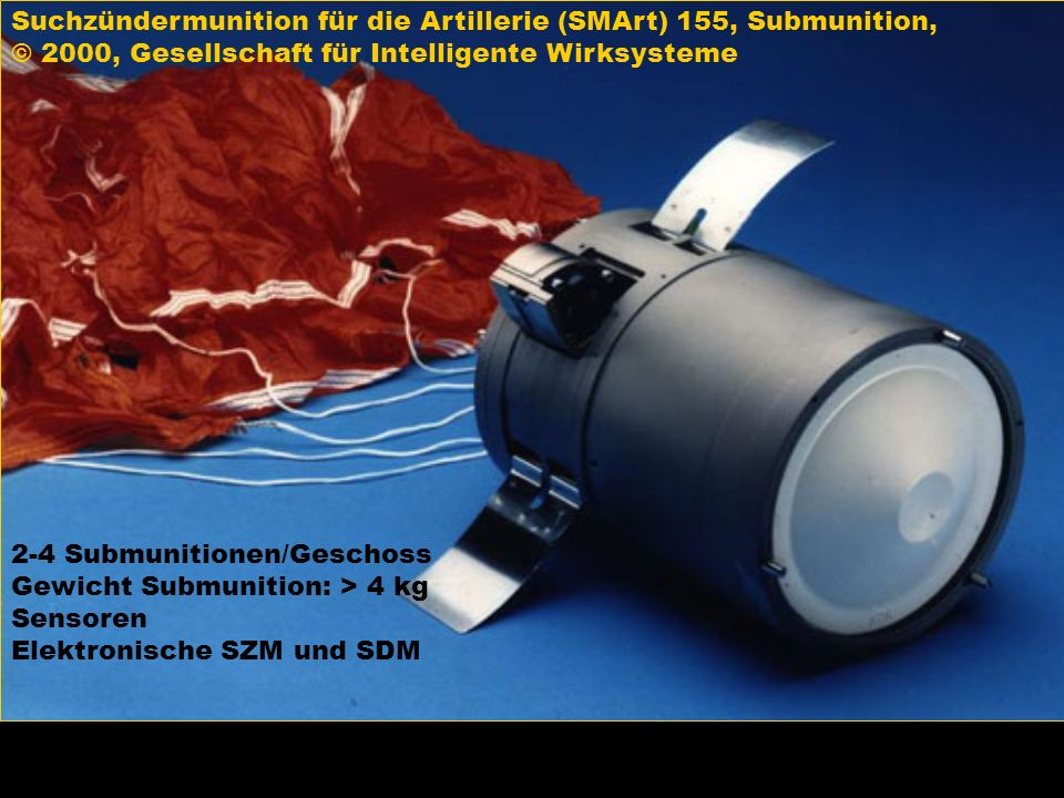 Suchzündermunition für die Artillerie (SMArt) 155, Submunition,