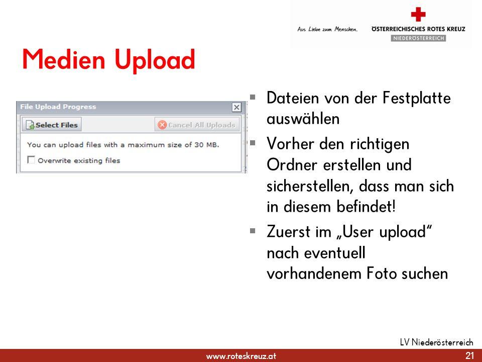 Medien Upload Dateien von der Festplatte auswählen