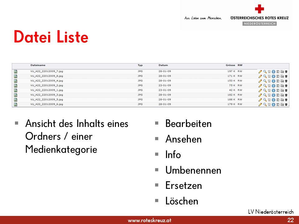 Datei Liste Ansicht des Inhalts eines Ordners / einer Medienkategorie