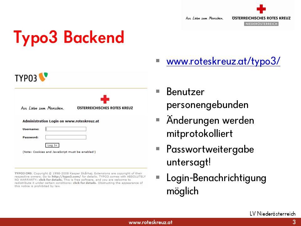 Typo3 Backend www.roteskreuz.at/typo3/ Benutzer personengebunden