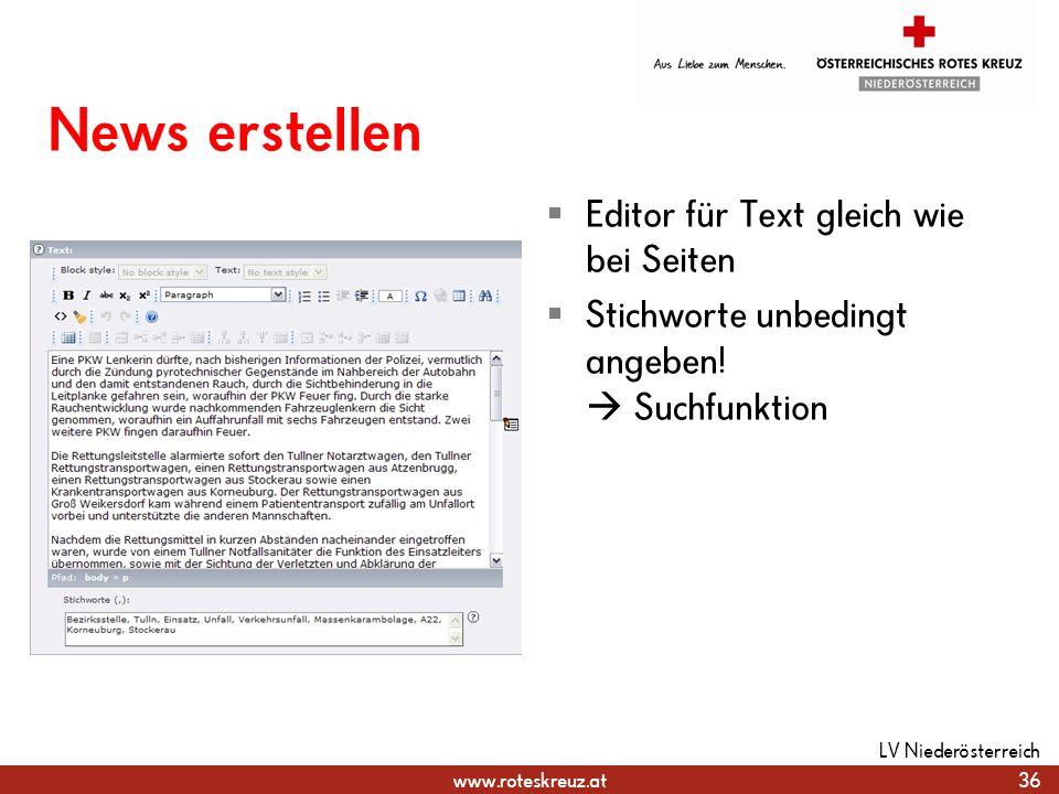 News erstellen Editor für Text gleich wie bei Seiten