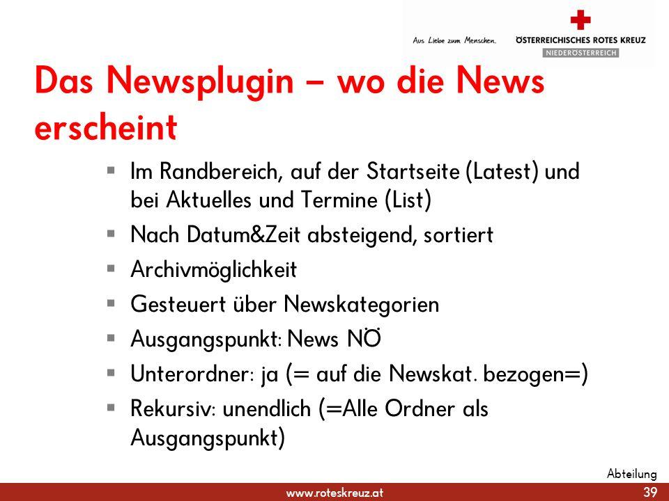 Das Newsplugin – wo die News erscheint
