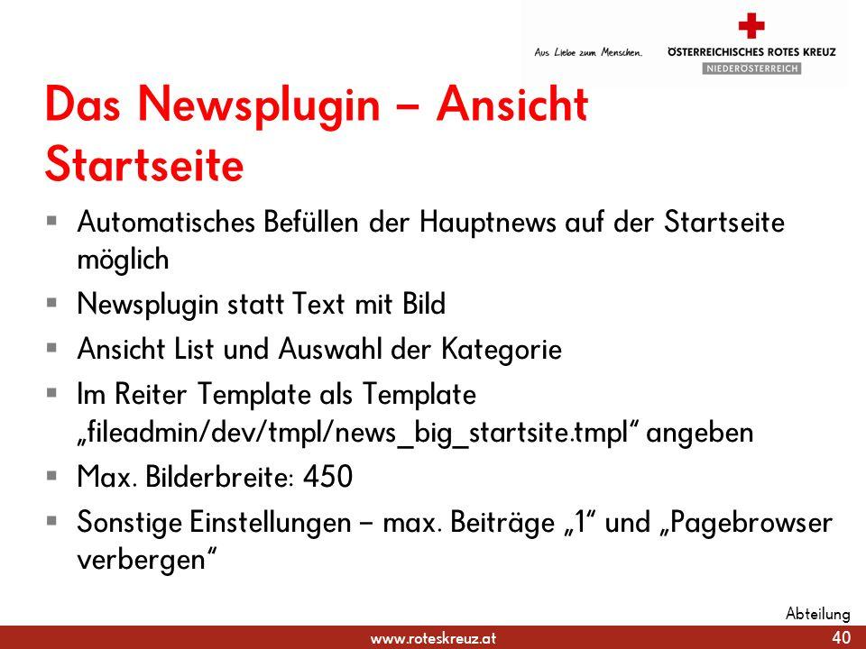Das Newsplugin – Ansicht Startseite