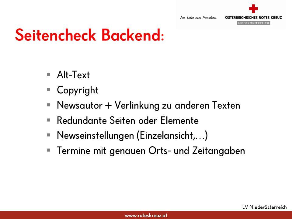 Seitencheck Backend: Alt-Text Copyright