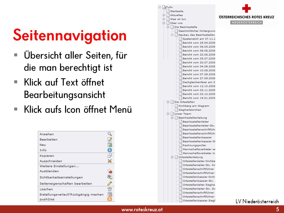Seitennavigation Übersicht aller Seiten, für die man berechtigt ist