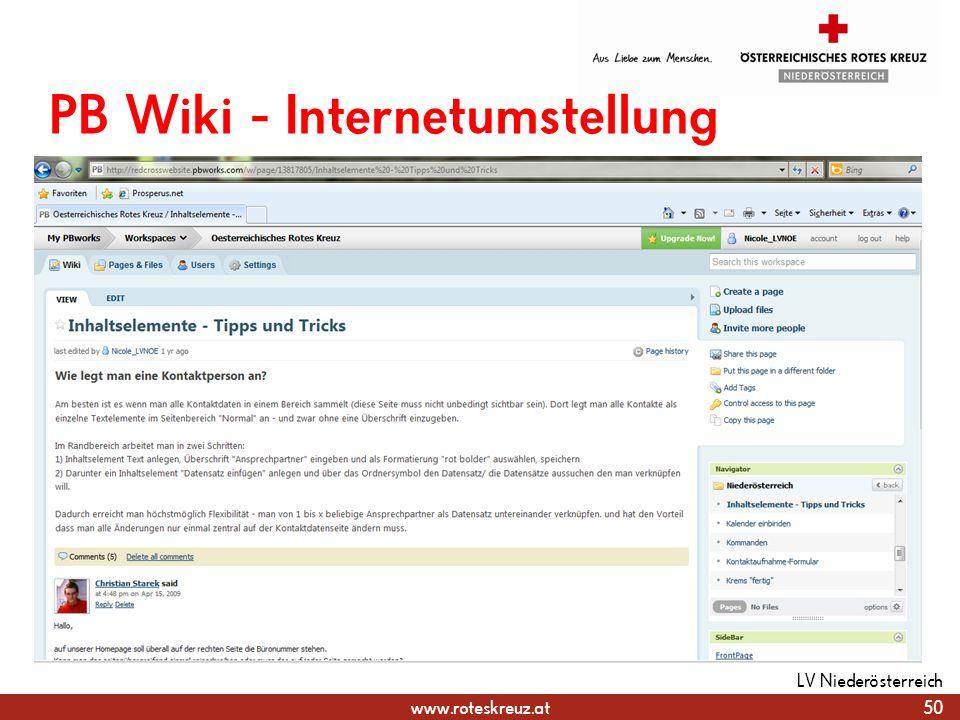 PB Wiki - Internetumstellung