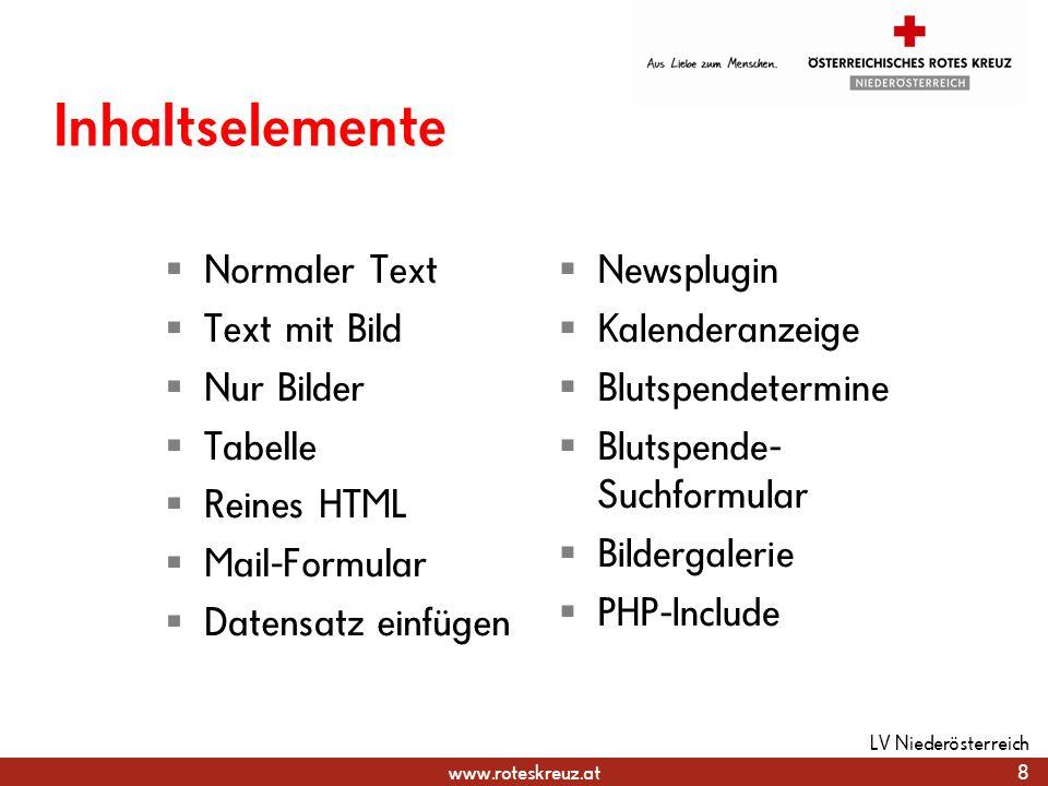 Inhaltselemente Normaler Text Text mit Bild Nur Bilder Tabelle