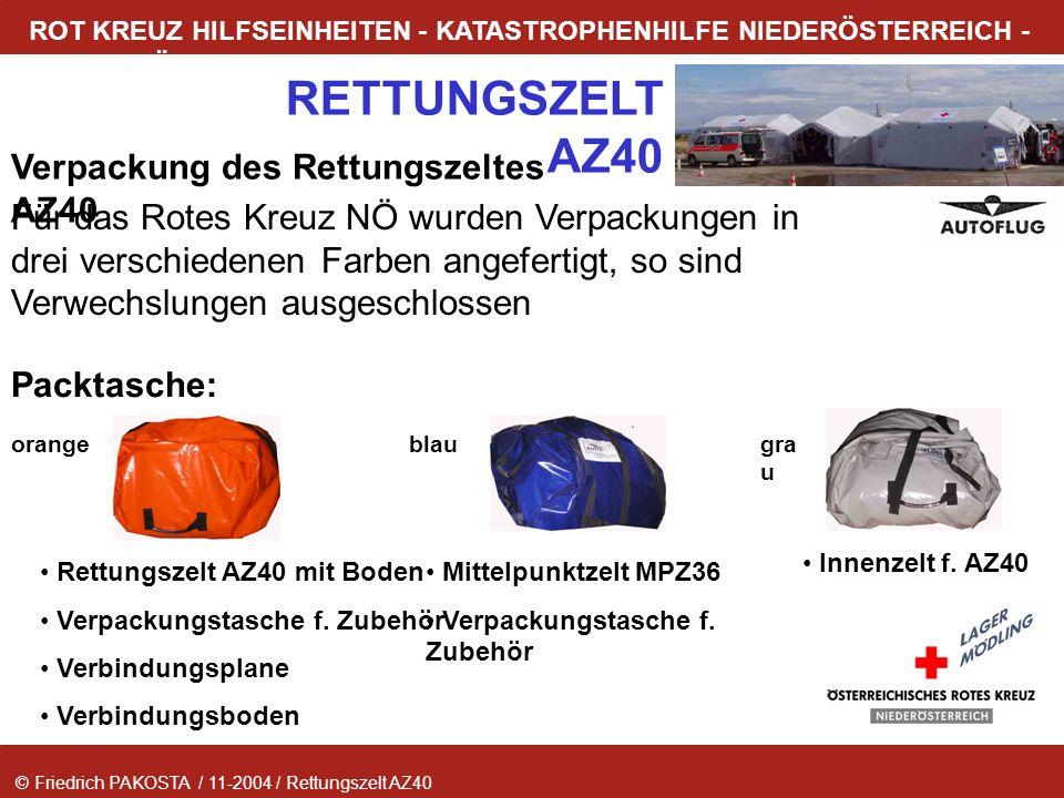 Verpackung des Rettungszeltes AZ40